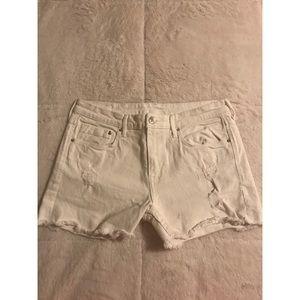 H&M High-Waisted Distressed White Denim Shorts